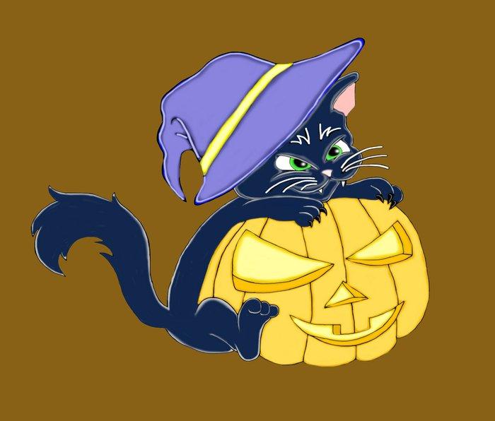 Mischievous Black Cat and Pumpkin Metal Travel Mug