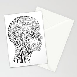 Head Profile Branches - Black Stationery Cards