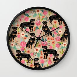 Rottweiler florals cute dog pattern pet friendly dog lover gifts for all dog breeds Wall Clock