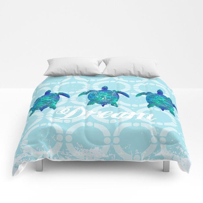 Turtle dream dreamer summer, illustration original painting print Comforters
