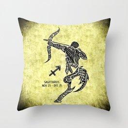 Zodiac Sagittarius Zentangle Throw Pillow
