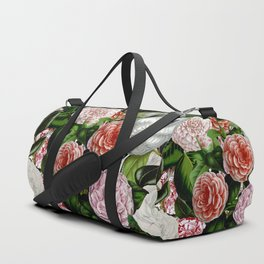 Vintage & Shabby Chic Green Large Dark Floral Camellia  Flowers Watercolor Pattern Duffle Bag
