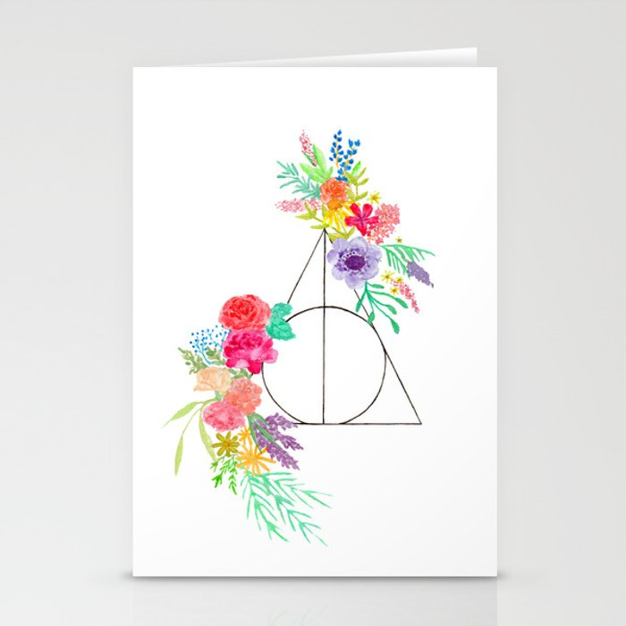 Deathly Hallows Floral Stationery Cards