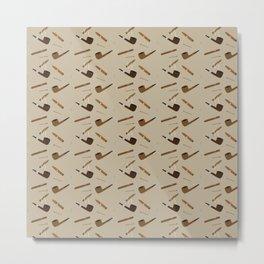 Pipe and Cigar pattern Metal Print