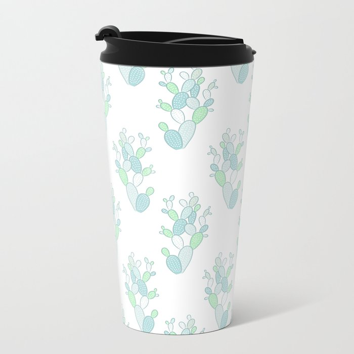 Little Succulent Pattern - Green on White Metal Travel Mug