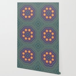 8 Suns Circular Bohemian Geometric Thread Weave Pattern \\ Yellow Green Blue Purple Color Scheme Wallpaper