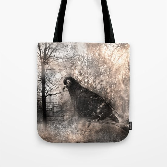 Black bird and the foggy path Tote Bag