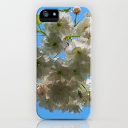 White spring blossom, blue sky iPhone Case
