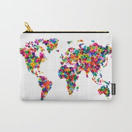 Love Hearts Map of the World Map Carry-All Pouch