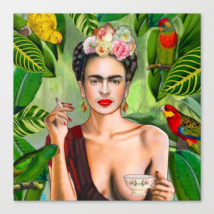 Frida con Amigos Leinwanddruck