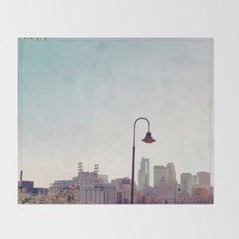 Minneapolis Minnesota Skyline at the Stone Arch Bridge Throw Blanket