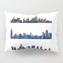 Chicago, New York, And Los Angeles City Skylines Pillow Sham