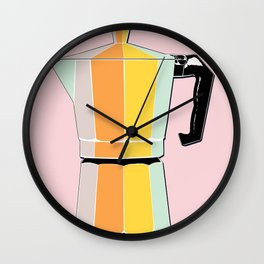 Retro Coffee Pot - Vintage Spring Colors on Fresh Shell Background Wall Clock