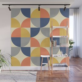 Mid Century Modern Geometric Pattern 445 Blue Yellow Orange Gray and Beige Wall Mural