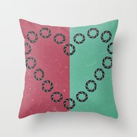 aperture Throw Pillows featuring aperture heart by lizbee