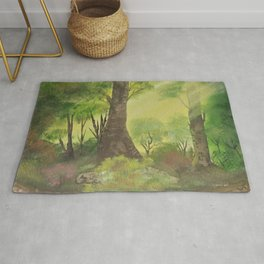 Playful sun rays in the woods Rug