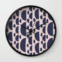 Half moon vertical geometric print - Navy Wall Clock