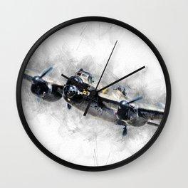 Lancaster Bomber Sketch Wall Clock