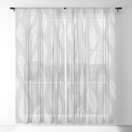 Leaf Motif - Neutral Gray Nature Pattern Sheer Curtain