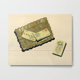 Brass Tray with Vintage Postage Holders in Gouache Metal Print