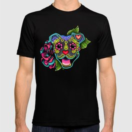 Smiling Pit Bull in Blue - Day of the Dead Pitbull Sugar Skull T-shirt