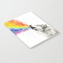 Wolf Howling Rainbow Watercolor Notebook