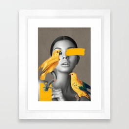 Girl with Parrots Framed Art Print