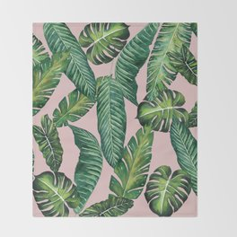 Jungle Leaves, Banana, Monstera II Pink #society6 Throw Blanket