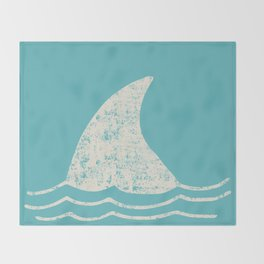 Beach Series Aqua- Shark Animal in the deep See Throw Blanket