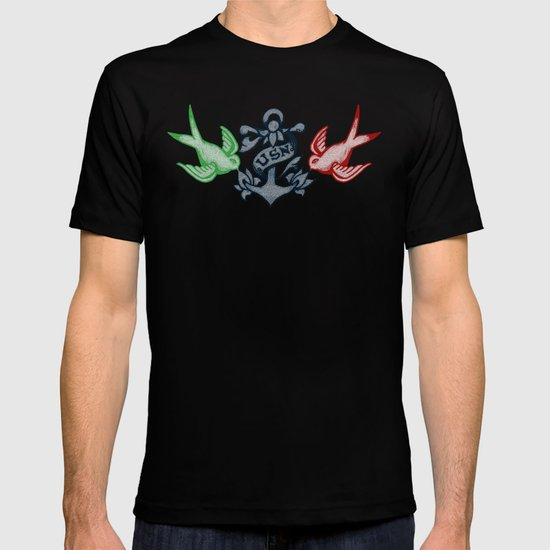 Swallows and Anchor Chest Piece (USA Traditional Tattoo) T-shirt