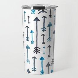 Watercolour Blue Arrows Travel Mug