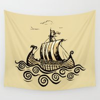 viking Wall Tapestries featuring Viking ship 2 by mangulica illustrations