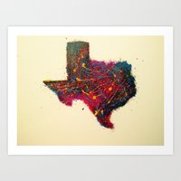 texas Art Prints featuring Texas by Kat's Artwork