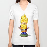 gnome V-neck T-shirts featuring Gnome Sayan by Nate Galbraith
