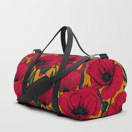 Red poppy garden Duffle Bag