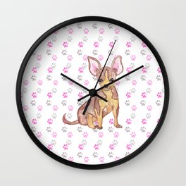 Cute Chihuahua Puppy in Watercolor and Paw Prints Wall Clock