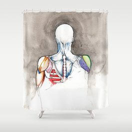 Non-apate, male back anatomy, NYC artist Shower Curtain