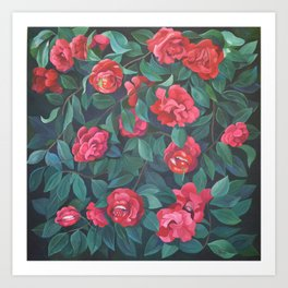 Camellias, lips and berries. Art Print