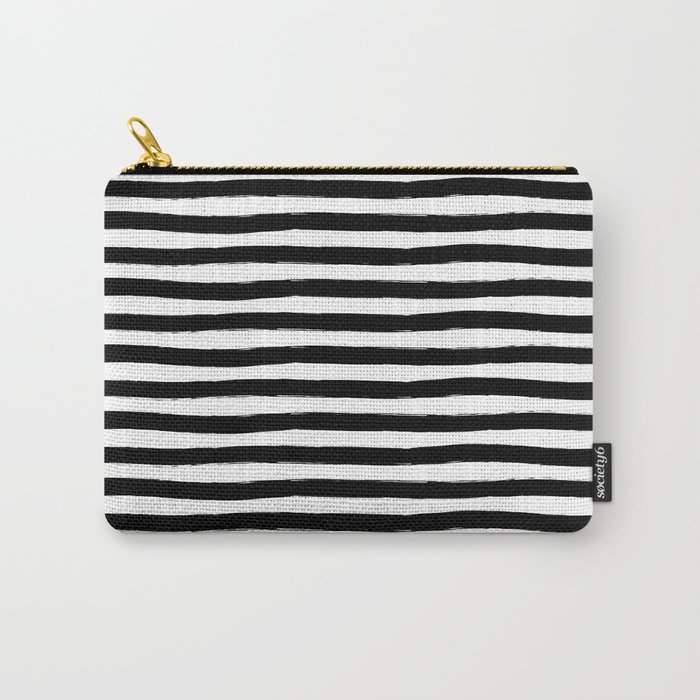 Black And White Hand Drawn Horizontal Stripes Carry-All Pouch