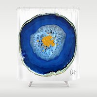 agate Shower Curtains featuring Agate Blue  by Xchange Art Studio