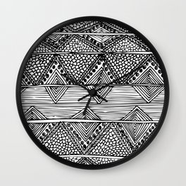 Abstract black and white digitised hand drawing art Wall Clock