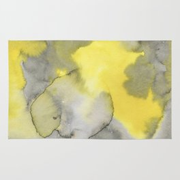 Hand painted gray yellow abstract watercolor pattern Rug