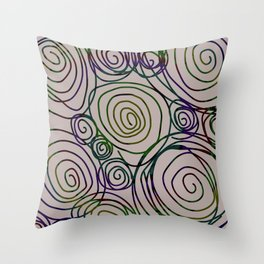 Abstract Artwork Pattern of Color Circles on a Black Background Style #01 Throw Pillow