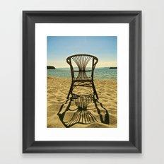 chair on the beach Framed Art Print