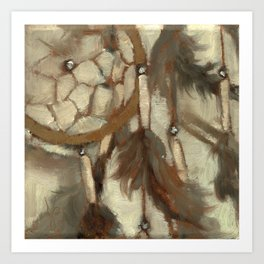 Native American Dreamcatcher Spirituality Still Life Impressionist Painting in Gray and Tan Art Print