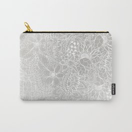 Modern white silver grey Christmas floral pattern illustration gradient ombre Carry-All Pouch