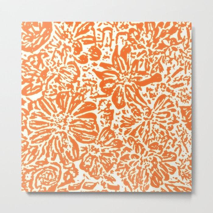 Marigold Lino Cut, Tangerine Orange Metal Print