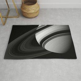 Saturns Rings Cassini HuygensOrbiter Black and White Image Rug