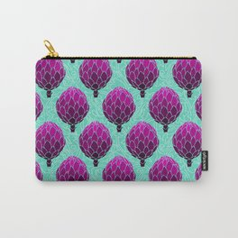 Cute Artichoke Pattern on Teal Background Carry-All Pouch