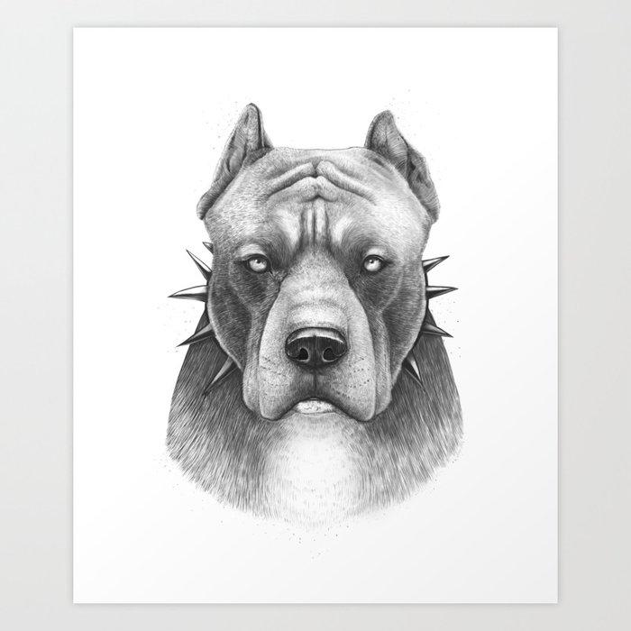 Pitbull Art Print by zhivechkova_art